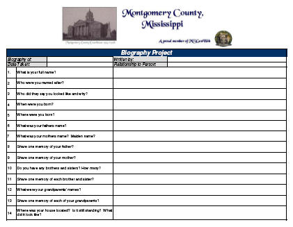 Msgenweb montgomery county mississippi for Bio questionnaire template